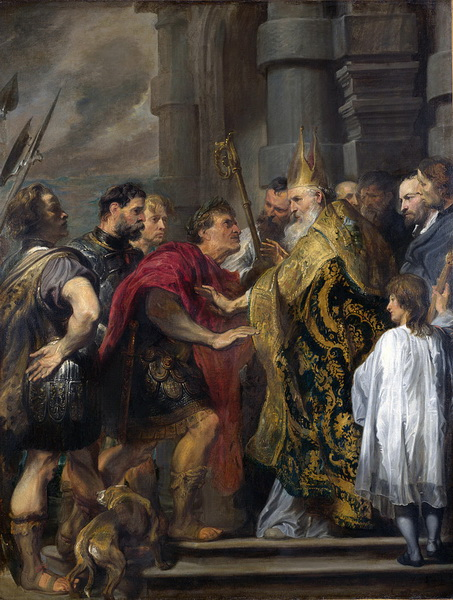 Saint Ambrose barring Theodosius from Milan Cathedral is a 1619–1620 painting by Anthony van Dyck.jpg