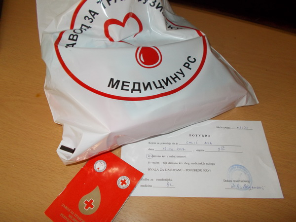 ONE RANDOM ACT OF KINDNESS Dobrovoljni davalac krvi po 4. put