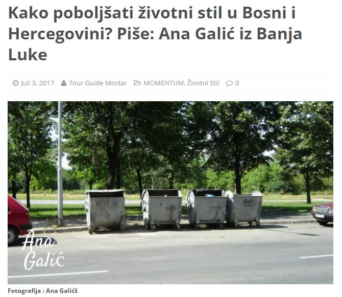 KAKO POBOLJŠATI ŽIVOTNI STIL U BOSNI I HERCEGOVINI? Piše: Ana Galić iz BanjaLuke