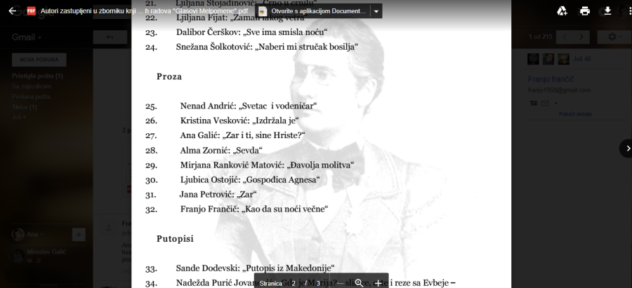 ZAR I TI SINE HRISTE Uvršten u Zbornik 'Glasovi Melpomene' 2017.