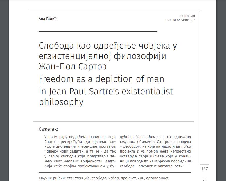 СТРУЧНИ РАД: Слобода као одређење човјека у егзистенцијалној филозофији Жан-Пол Сартра, Галић заЕидос