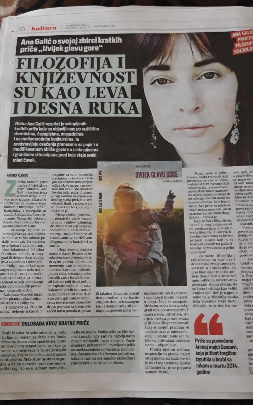 """GALIĆ ZA BLIC.RS Ana Galić o svojoj zbirci kratkih priča """"Uvijek glavu gore"""": Biti žena u današnjem društvu jeizazov"""